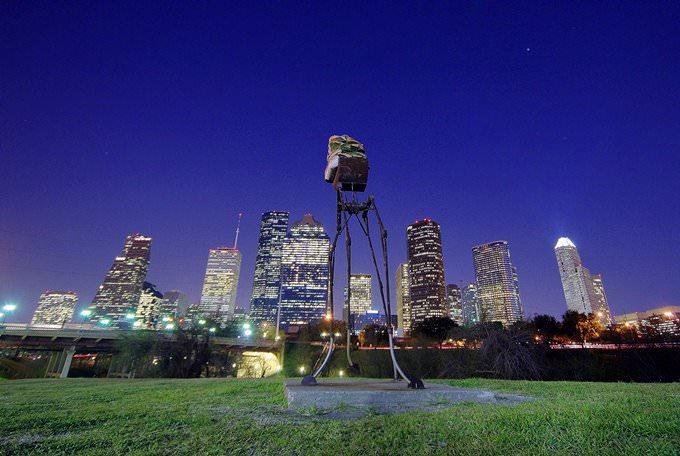 Weird Foam Buddha Over Downtown Houston