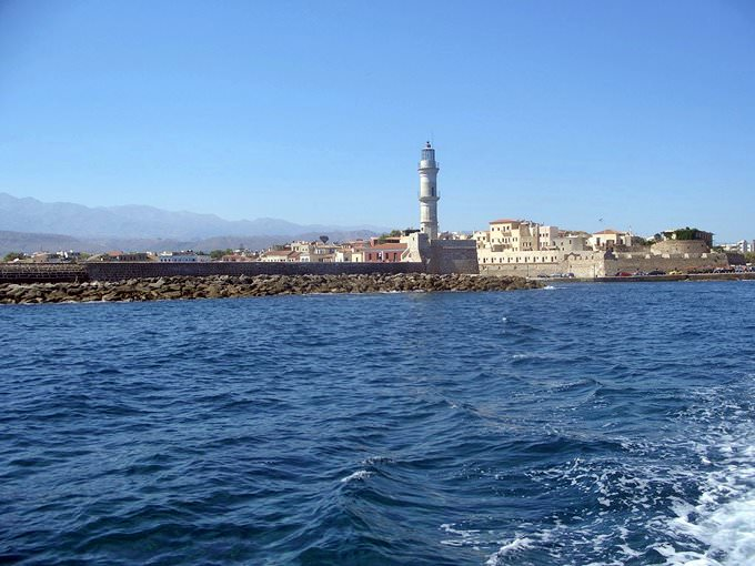 Chania lighthouse from sea