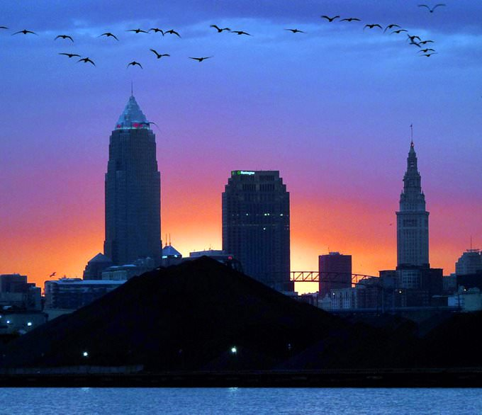 Cleveland skyline above the coal slag