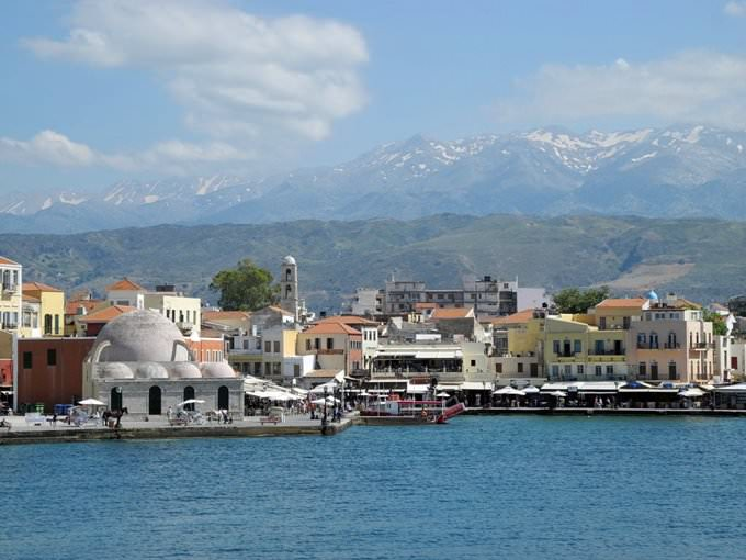 Venetian harbour of Chania and Lefka Ori