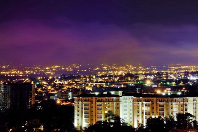 Colored clouds at night in Costa Rica