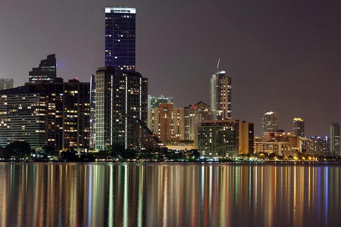 Miami Brickell Skyline and Reflexions