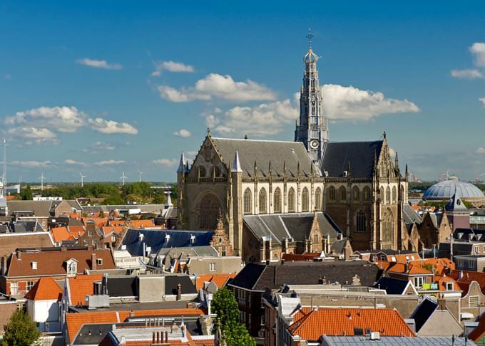 great church towering over haarlem