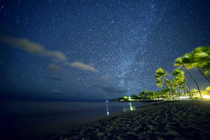 Starry Night at the Waikoloa Beach, Hawaii Island, Hawaii