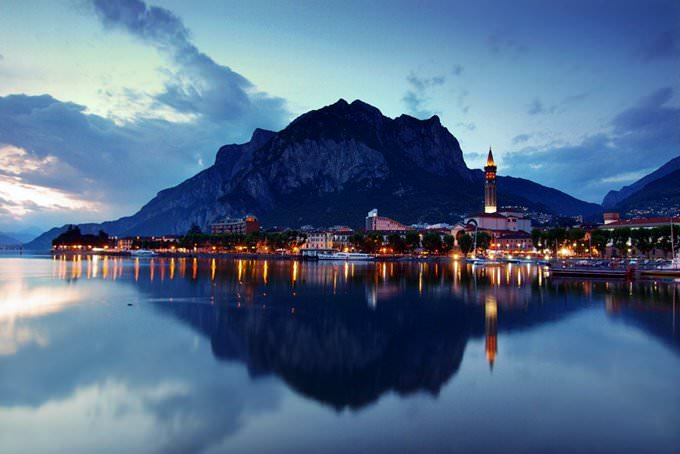 Lecco town after sunset, Lombardy