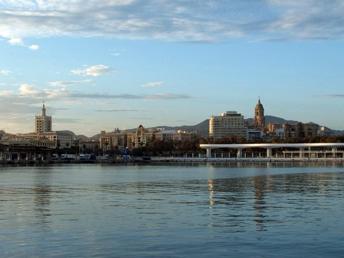 Malaga harbor with the cathedral in back