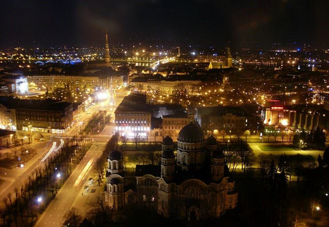 Riga at night time