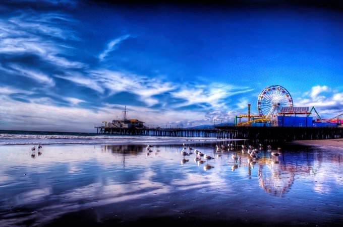 Santa Monica Pier after a storm
