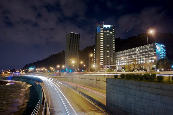 The San Cristobal Tower by night