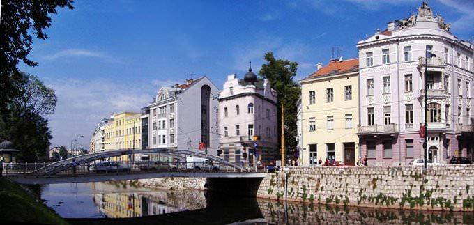 Sarajevo riverside panorama