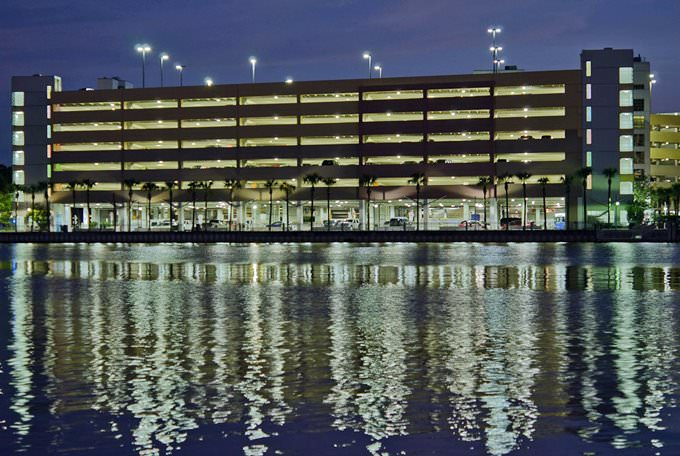Tampa General Hospital Parking Garage from Harbor Island at Night