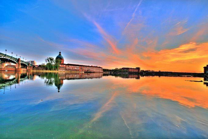 Firey Sunset over the Garonne