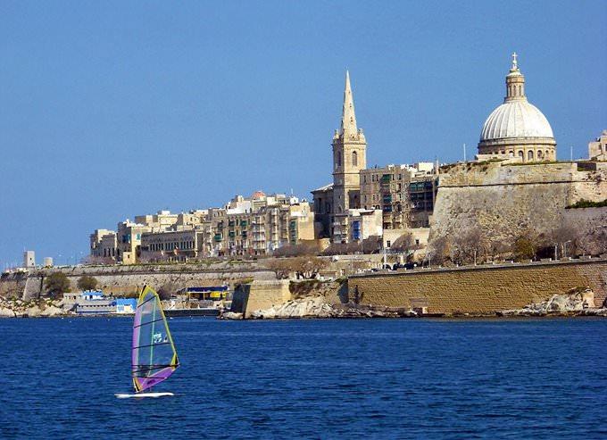 Windsurfer, Marsamxett Harbour, Sliema-Valletta