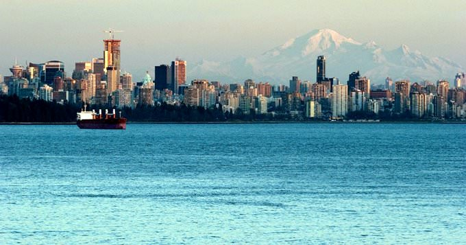 Vancouver skyline with mount Baker