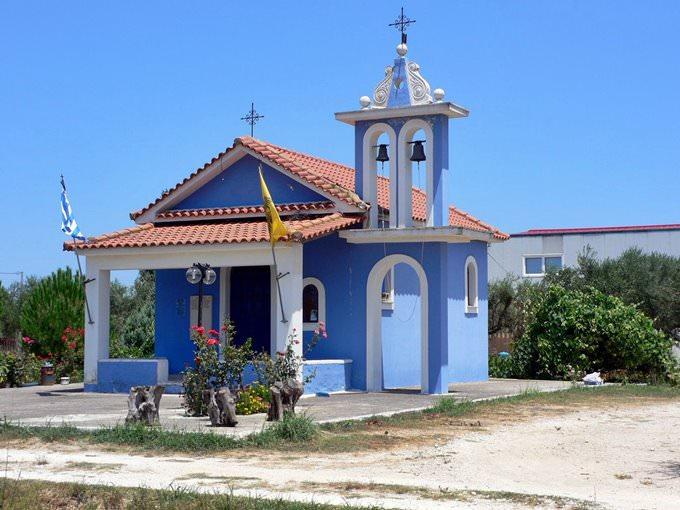 Blue church at Oenolpi winery on Zakynthos